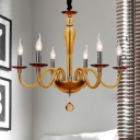 Candle Chandelier Lighting Vintage Style Blue/Orange Glass 6/8/12 Lights Living Room Ceiling Fixture with Curved Arm
