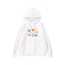 Simple Letter LITTLE FLOWER Print Long Sleeve White Drawstring Graphic Hoodie in Loose Fit