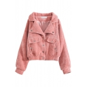 Plain Cozy Long Sleeve Lapel Collar Flap Pockets Button Down Faux Fur Loose Fit Jacket for Girls