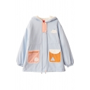 Cute Kawaii Girls' Blouson Sleeve Hooded Button Down Cloud Geo Print Patched Pocket Thick Baggy Parka Coat in Blue