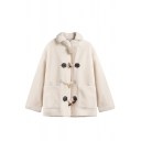 Cute White Long Sleeve Lapel Collar Pompom Decoration Pockets Side Sherpa Liner Boxy Duffle Coat for Girls