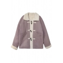 Women's Vintage Thick Long Sleeve Lapel Collar Frog Button Down Pockets Side Sherpa Liner Relaxed Coat in Purple