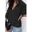 Plain Elegant Long Sleeve Surplice Neck Hooded Kangaroo Pocket Relaxed Wrap Hoodie for Ladies
