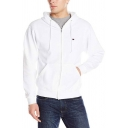 Simple Style Whole Colored Long Sleeve Zip Up Slim Fit Sports Hoodie with Pocket