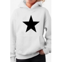 White Simple Star Pattern Long Sleeve Pouch Pocket Oversized Hoodie for Men