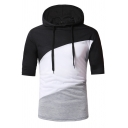 Summer Popular Contrast Patchwork Half Sleeve Fitted Slim Drawstring Hoodie Top