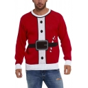 Red Creative Fake Clothing Suit Pattern Knitted Long Sleeve Christmas Pullover Sweater