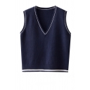 Preppy Girls' Sleeveless Deep V-Neck Contrast Piped Relaxed Fit Plain Purl Knit Pullover Sweater Vest