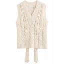 Elegant Girls' Sleeveless Deep V-Neck Cable Knit Fringe Decoration Loose Pullover Sweater Vest in Beige