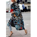 Stylish Ladies' Long Sleeve Lapel Collar Starry Sky Patterned Maxi Baggy Coat in Blue