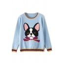 Womens Cute Dog Print Contrast Trim Long Sleeve Round Neck Blue Loose Sweater