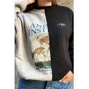 Unique Girls' Long Sleeve Crew Neck Letter KL ALIEN Deer Printed Patched Baggy Pullover Sweatshirt in Black