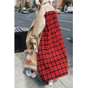 Trendy Street Women's Long Sleeve Notch Lapel Collar Plaid Patterned Maxi Oversize Trench Coat in Red