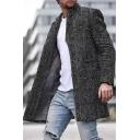 Hot Popular Black Herringbone Printed Long Sleeve Stand Collar Longline Wool Coat