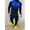 Casual Colorblock Panel Long Sleeve Zip Up Muscle Hoodie with Pants Jogging Athletic Tracksuit