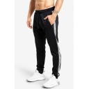 Mens Simple Letter Tape Print Drawstring Waist Loose Sweatpants Running Fitness Pants