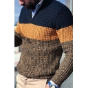 Street Style Color Block Long Sleeve Zipper Front Slim Fit Knitted Sweater for Men