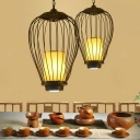 Wire Cage Iron Hanging Ceiling Pendant Chinese Style 1-Light Black Suspension Lamp, 14