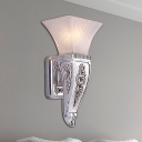 Vintage Style Bell Wall Lamp 1 Light Frosted Glass and Resin Wall Sconce Fixture in Silver for Corridor