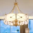 Drum White Glass Pendant Chandelier Colonialism 4 Bulbs Bedroom Hanging Light Fixture
