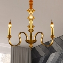 Gold Starburst Chandelier Lamp Colonial 3/5/6 Heads Metal Hanging Ceiling Light for Living Room