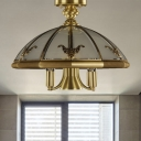 Brass 5 Heads Semi Flush Light Traditional Sandblasted Glass Oval/Sheep Ceiling Fixture for Living Room