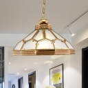 Gold 1 Head Pendant Light Traditional Frosted White Glass Bowl Suspended Lighting Fixture for Living Room