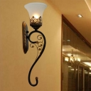 Countryside Curved Arm Sconce Lighting 1 Head Metal Wall Mount Lamp Fixture in Black and Gold