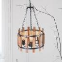 Black Drum Hanging Chandelier Vintage Wooden 6 Lights Kitchen Island Ceiling Pendant