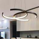 Circular Metal Hanging Chandelier Simple Style White/Black LED Pendant Light in Warm/White Light