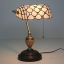 Beaded Banker Lamp 1 Light Yellow/Blue Glass Tiffany Desk Lamp with Pull Chain Switch for Reading Room