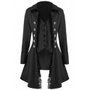 Vintage Unique Girls' Long Sleeve Lapel Neck Double Breasted Lace Trim Fitted Plain Long Bi-Layer Coat