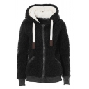 Women's Thickened Long Sleeve Hooded Drawstring Zipper Front Pockets Side Sherpa Fleece Relaxed Plain Coat