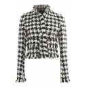 Chic Girls' Long Sleeve Stand Collar Houndstooth Printed Tassel Detail Fitted Tweed Coat in White