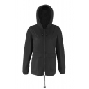 Sport Casual Plain Long Sleeve Hooded Drawstring Zipper Front Baggy Trench Coat for Women