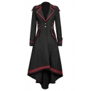 Fancy Ladies' Long Sleeve Peak Collar Button Detail Flap Pockets Contrast Piped Pleated Maxi Dress Coat in Black
