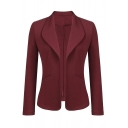 Women Basic Simple Long Sleeve Turn Down Collar Pockets Side Slim Fit Plain Blazer