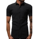 Mens Trendy Solid Color Short Sleeve Button Up Fitted Striped Shirt for Summer