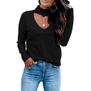 Basic Plain Long Sleeve Choker Cut Out Purl-Knit Relaxed Pullover Sweater for Ladies