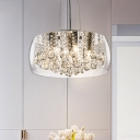 3 Heads Drum Chandelier Pendant Light Simple Style Clear/Amber Crystal Drop Hanging Light Kit