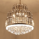11 Bulbs Dining Room Chandelier Light Gold Pendant Lighting Fixture with Round Multifaceted Crystal Sphere