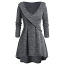 Elegant Ladies' Long Sleeve Surplice Neck Plain Mid Wrap Pleated A-Line Dress