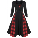 Party Girls' Long Sleeve Round Neck Bow Tie Button Decoration Plaid Print Patched Midi Wrap Pleated Flared Dress