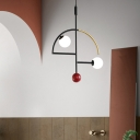 Modern Geometric Ceiling Chandelier White Glass 2 Lights Kitchen Island Suspension Light in Black