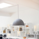 Bowl Hanging Lighting Contemporary Metal 1 Head Grey Pendant Light Fixture for Living Room