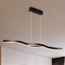 Black Curved Pendant Lighting Minimalist Metal 2 Led Chandelier Lamp for Kitchen