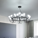 Mini Ball Chandelier Lamp with Metal Ring Contemporary Clear Glass Torch Hanging Lamp in Black