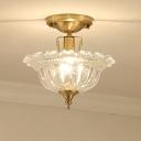 Amber/Clear Glass Semi Flush Light Modern Bowl Semi Flush Mount Ceiling Light in Brass for Corridor
