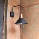 1 Light Outdoor Wall Lamp Industrial Black Lighting Fixture with Cone Metal Shade