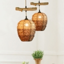 1 Light Dining Room Hanging Light Fixture Brown Suspension Pendant with Jar Rattan Shade